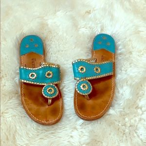 Jack Rogers - Turquoise and Gold - size 8